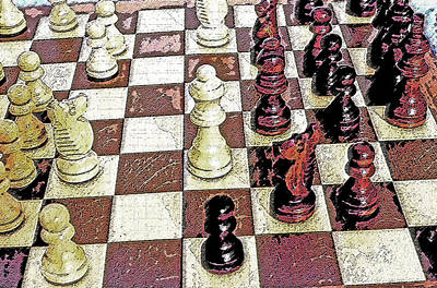 Chess Board - Game In Progress 1 Print by Steve Ohlsen