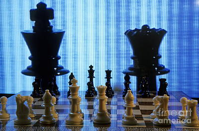 Chess Board With King And Queen Chess Pieces In Front Of Tv Scre Print by Sami Sarkis