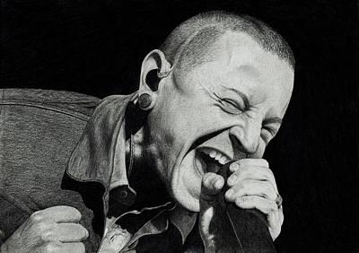 Linkin Park Drawing - Chester Bennington by Robert Parkin