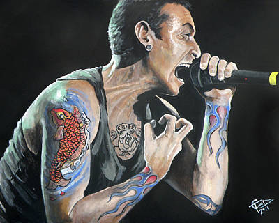 Bennington Painting - Chester Bennington by Tom Carlton