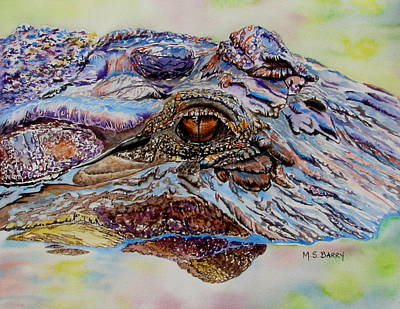 Alligator Painting - Chester by Maria Barry