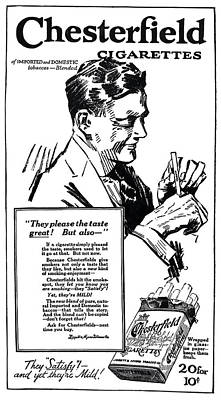 Cigarette Ads Photograph - Chesterfield - They Please The Taste Great  1917 by Daniel Hagerman