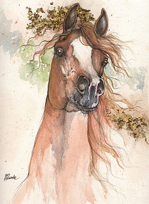 Wild Horses Drawing - Chestnut Arabian Horse 2015 05 30 by Angel  Tarantella