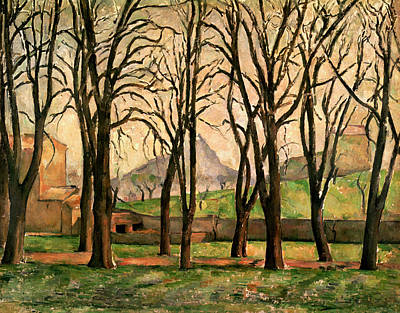 Chestnut Painting - Chestnut Trees At The Jas De Bouffan by Paul Cezanne