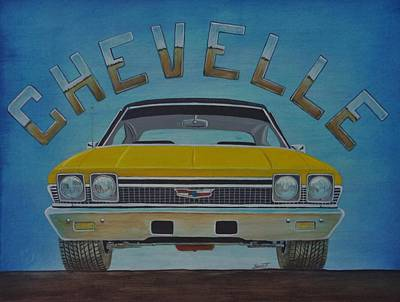 Road Rod Painting - Chevelle by Rick Bennett