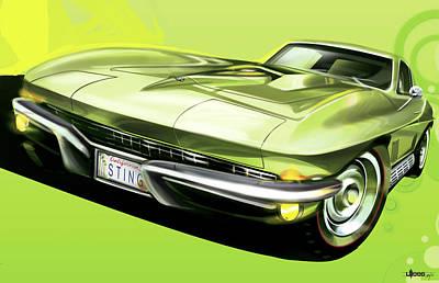 Automotive.digital Digital Art - Chevrolet Corvette C2 Sting Ray by Uli Gonzalez
