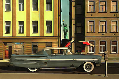 Chevrolette Impala At The Big Apple Print by Jan Keteleer
