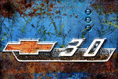 Rusted Cars Digital Art - Chevy 3.0 Photomontage by Carol Leigh