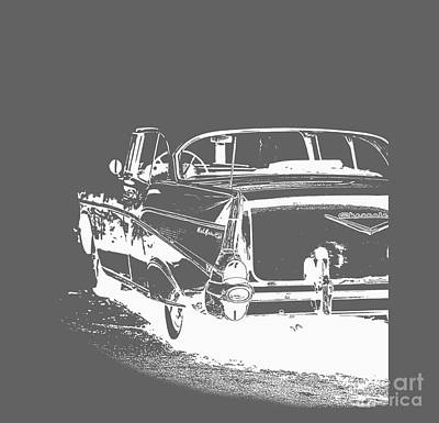 Auto Drawing - Chevy Belair Tee by Edward Fielding