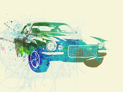 Cylinder Photograph - Chevy Camaro Watercolor by Naxart Studio