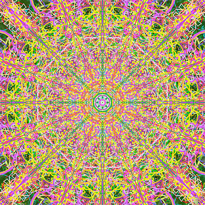 Mandala Painting - Chewey Candy Carnival Kaleidoscope by John Groves