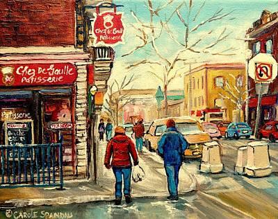 Jewish Montreal Painting - Chez De Gaulle Patisserie Deli by Carole Spandau
