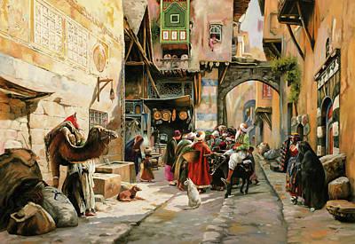 Chiacchiere Al Mercato Print by Guido Borelli