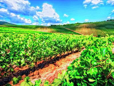 Chianti Vineyard In Tuscany Print by Dominic Piperata