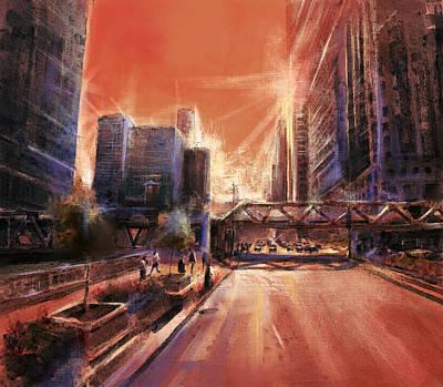 Willis Tower Digital Art - Chicaco Street 3 by Bekim Art