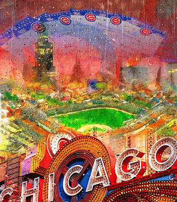Chicago Cubs Painting - Chicago And Wrigley Field by John Farr