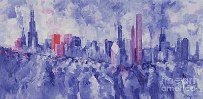 Chicago Skyline Painting - Chicago by Bayo Iribhogbe