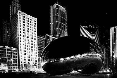 Horizontal Photograph - Chicago Bean At Night by Andrew Soundarajan