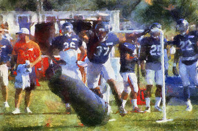 Scoreboard Mixed Media - Chicago Bear Camp Hitting The Pads Pa 02 by Thomas Woolworth
