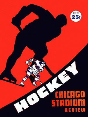Blackhawk Painting - Chicago Blackhawks Vintage 1951 Program by Big 88 Artworks