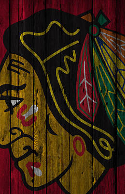 Hockey Digital Art - Chicago Blackhawks Wood Fence by Joe Hamilton