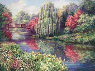 Impressionistic Landscape Painting - Chicago Botanical Garden by Laurie Hein