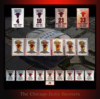 Mixed Media - Chicago Bulls Banners Collage by Thomas Woolworth