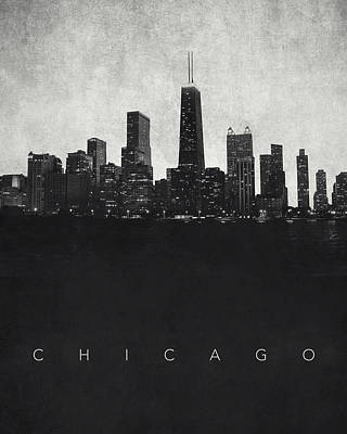 Willis Tower Digital Art - Chicago City Skyline - Urban Noir by World Art Prints And Designs