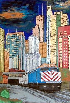 Architecture Mixed Media - Chicago City Train by Char Swift