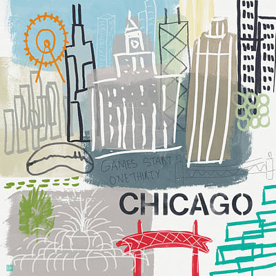 Chicago Cityscape- Art By Linda Woods Print by Linda Woods