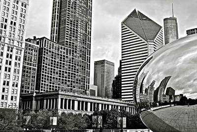 Photograph - Chicago Cloud Gate Grayscale by Frozen in Time Fine Art Photography