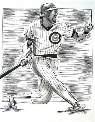 Chicago Baseball Drawing - Chicago Cub Leon Durham by Vincent Wolff