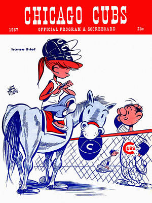 Wrigley Field Painting - Chicago Cubs 1967 Scorecard by Big 88 Artworks