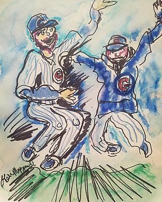 Wrigley Field Drawing - Chicago Cubs by Geraldine Myszenski