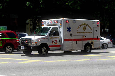 Soldier Field Mixed Media - Chicago Fire Department Ems Ambulance 62 by Thomas Woolworth