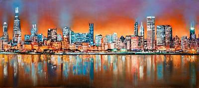 Chicago Skyline Painting - Chicago Glow At Night by Niphon