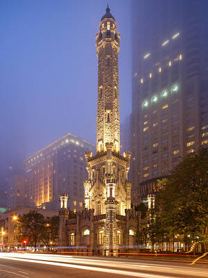 Downtown Area Photograph - Chicago Historic Water Tower On Michigan Avenue Foggy Twilight - Chicago Illinois by Silvio Ligutti
