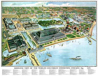 Vintage Map Painting - Chicago - Illinois - 1893 by Pablo Romero