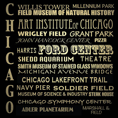 Soldier Field Digital Art - Chicago Illinois Famous Landmarks by Patricia Lintner