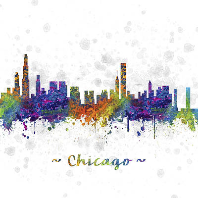 University Of Illinois Drawing - Chicago Illinois Skyline Color 03sq by Aged Pixel