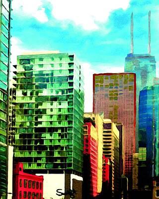 Hancock Building Painting - Chicago John Hancock Building by Char Swift