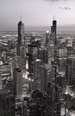 Chicago Loop Sundown B And W Print by Steve Gadomski