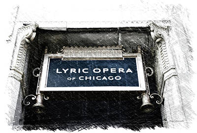 Soldier Field Mixed Media - Chicago Lyric Opera House Signage Pa 01 by Thomas Woolworth