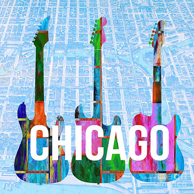 Guitar Painting - Chicago Music Scene by Edward Fielding