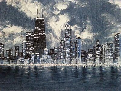 Hancock Building Painting - Chicago  by Natalia Kiseleva Favorsky