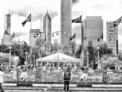 Soldier Field Mixed Media - Chicago Nfl Draft Town 2016 Bw by Thomas Woolworth