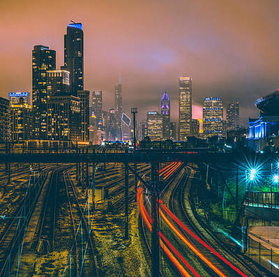 Train Photograph - Chicago Night Skyline  by Cory Dewald