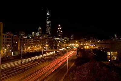 Chicago Night Skyline Original by Sven Brogren