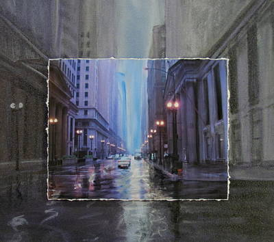Lamp Post Mixed Media - Chicago Rainy Street Expanded by Anita Burgermeister