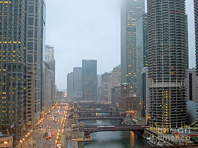 Chicago River At Twilight Print by Ann Horn